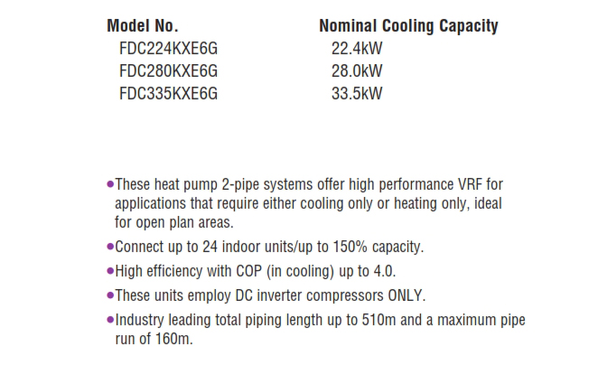 Heat pump systems 8, 10, 12HP (22.4kW~33.5kW)